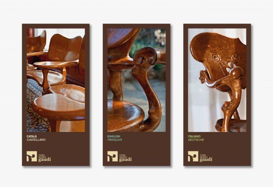 Trípticos informativos con el diseño gráfico Logotipo Casa Museu Gaudí
