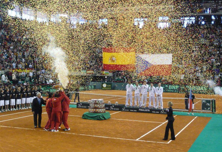 Celebración de la selección española de tenis en la final contra República Checa. Copa Davis