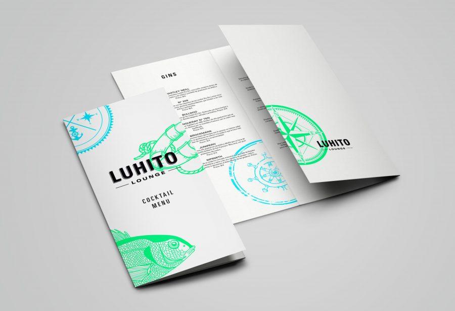 Diseño gráfico del menú de LUHITO Lounge Bar
