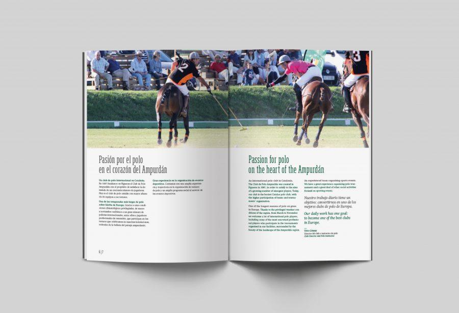 Diseño editorial del prestige book. Fotografía de jugadores jugando a polo