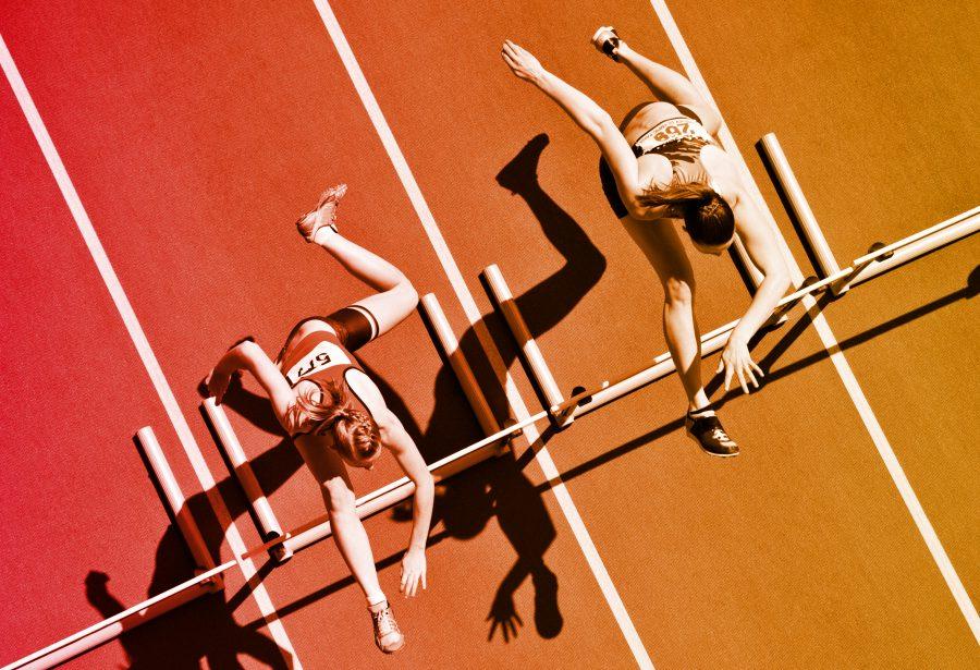 Carrera de obstáculos en deporte atletismo