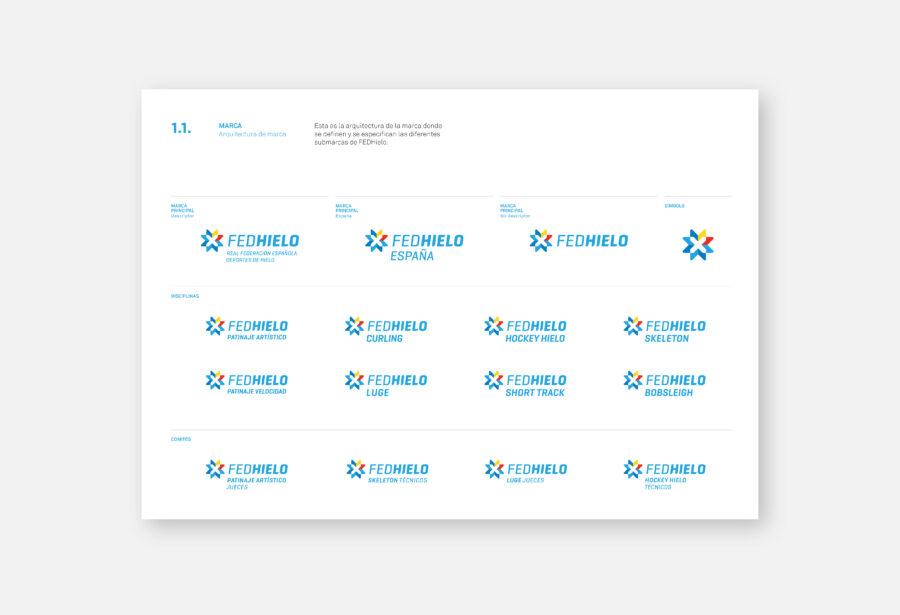 Diferentes versiones del logotipo FEDHielo