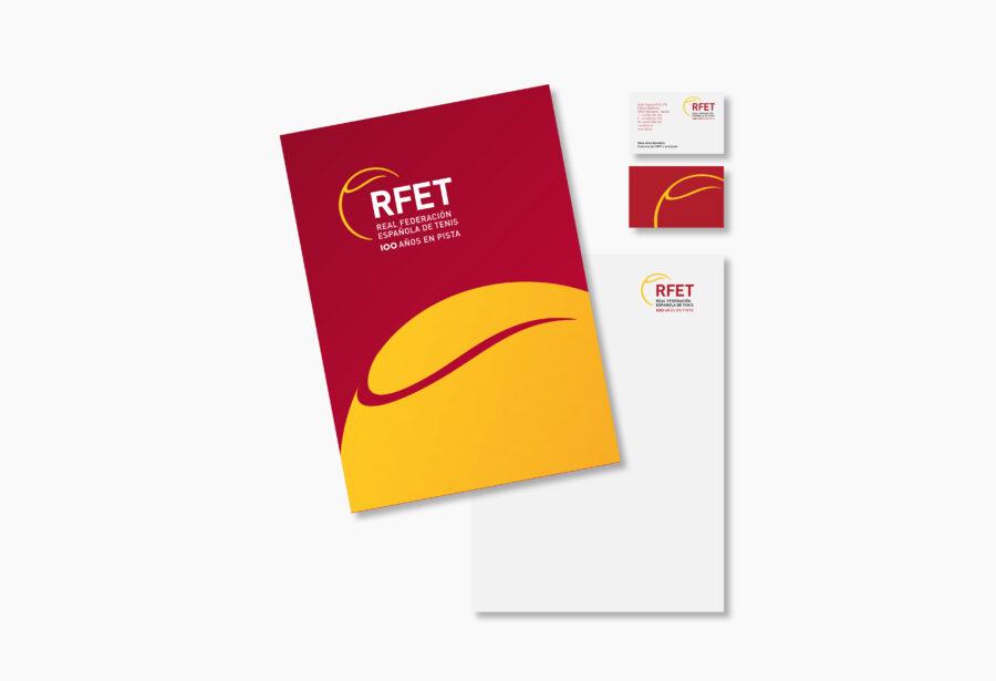 Papelería de RFET. Diseño de carpeta dossier y tarjetas de visita