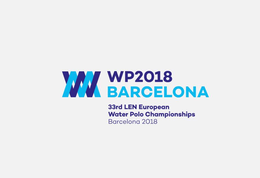 Logotipo WP2018 Barcelona. 33rd LEN European Water Polo Championship.