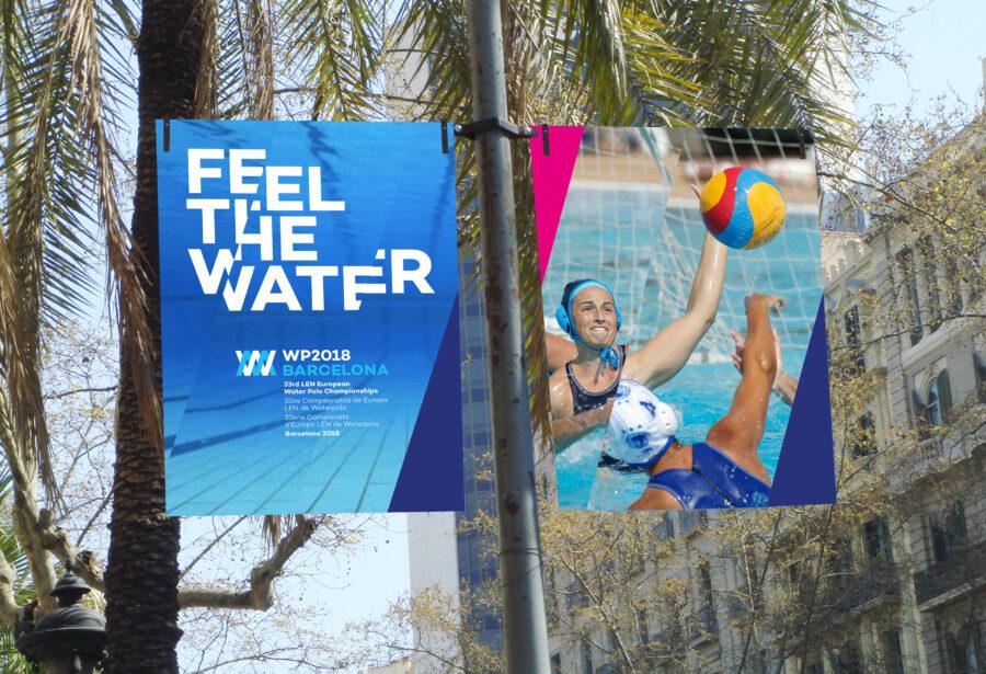 Banderolas con el diseño gráfico del campeonato WP2018. Feel The Water